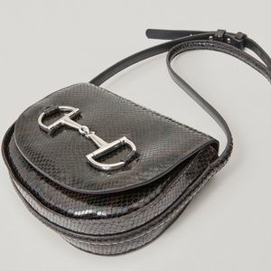 Leather snake print crossbody bag with horsebit